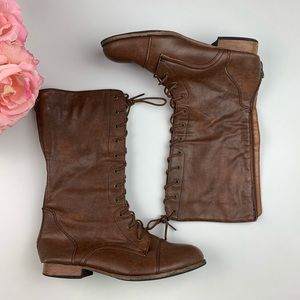 🌸Charlotte Russe Lace Up Plaid Lined Combat Boots